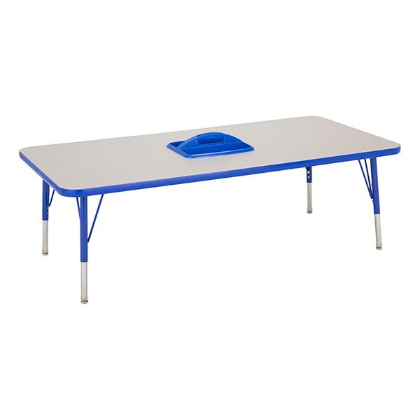 Adjustable Height Preschool Activity Table W/ Removable Organizer    Rectangle   Gray Top U0026