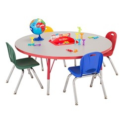 Adjustable-Height Preschool Activity Table w/ Removable Organizer - Round