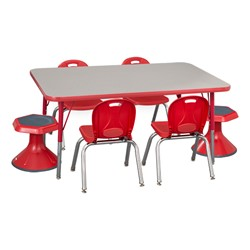 "Rectangle Adjustable-Height Preschool Table & Four Structure Chairs w/ Two Active Learning Stools - (30"" W x 48"" L) - 12"" Seat Height"