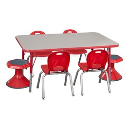 "Rectangle Adjustable-Height Preschool Table & Four Structure Chairs w/ Two Active Learning Stools - (30"" W x 48\"" L) - 12\"" Seat Height"