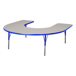 "Horseshoe Adjustable-Height Preschool Table & Eight Assorted Color Structure Chairs - (66"" W x 60"" L) - 12"" Seat Height - Table"