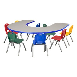 """Horseshoe Adjustable-Height Preschool Table & Eight Assorted Color Structure Chairs - (66\"""" W x 60\"""" L) - 12\"""" Seat Height"""