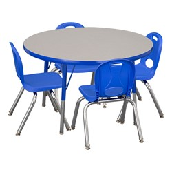 "Round Adjustable-Height Preschool Table & Four Structure Chairs - (36"" Diameter) - 12"" Seat Height"