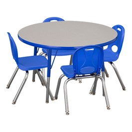 "Round Adjustable-Height Preschool Table & Four Structure Chairs - (36"" Diameter) - 12\"" Seat Height"