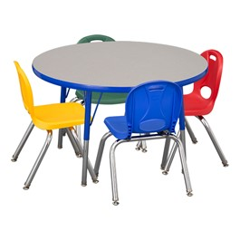 """Round Adjustable-Height Preschool Table & Four Assorted Color Structure Chairs - (36\"""" Diameter) - 12\"""" Seat Height"""