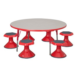 "Round Adjustable-Height Preschool Table & Six Active Learning Stools - (48"" Diameter) - 12\"" Stool Height"