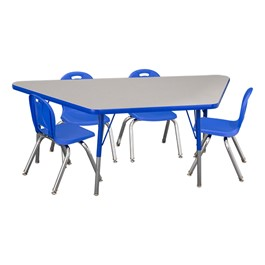"Trapezoid Adjustable-Height Preschool Table & Four Structure Chairs - (30"" W x 60\"" L) - 12\"" Seat Height"
