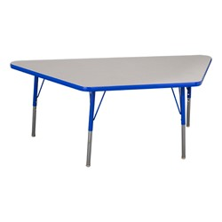 """Trapezoid Adjustable-Height Preschool Table & Four Assorted Color Structure Chairs - (30"""" W x 60"""" L) - 14"""" Seat Height - Table"""