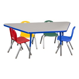 """Trapezoid Adjustable-Height Preschool Table & Four Assorted Color Structure Chairs - (30\"""" W x 60\"""" L) - 14\"""" Seat Height"""