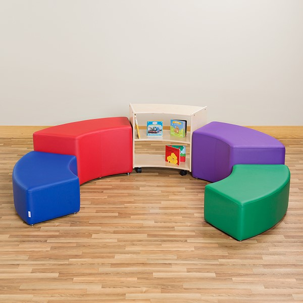 "Preschool Reading Nook w/ Curved Mobile Shelving (24"" H)"