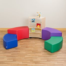 "Preschool Reading Nook w/ Curved Mobile Shelving (36"" H)"