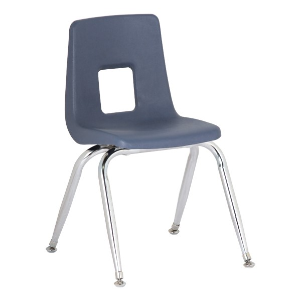 """Assorted Natural Colors 100 Series Preschool Chair w/ Chrome Legs (9 1/2"""" Seat Height) - Blue"""