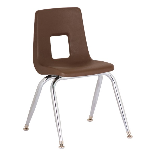 """Assorted Natural Colors 100 Series Preschool Chair w/ Chrome Legs (9 1/2"""" Seat Height) - Brown"""
