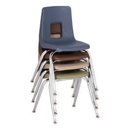 "Assorted Natural Colors 100 Series Preschool Chair w/ Chrome Legs (9 1/2"" Seat Height) - Four chairs shown stacked"
