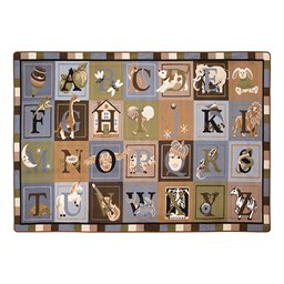 Natural Reading Center - Alphabet Images Natural Colors Rug