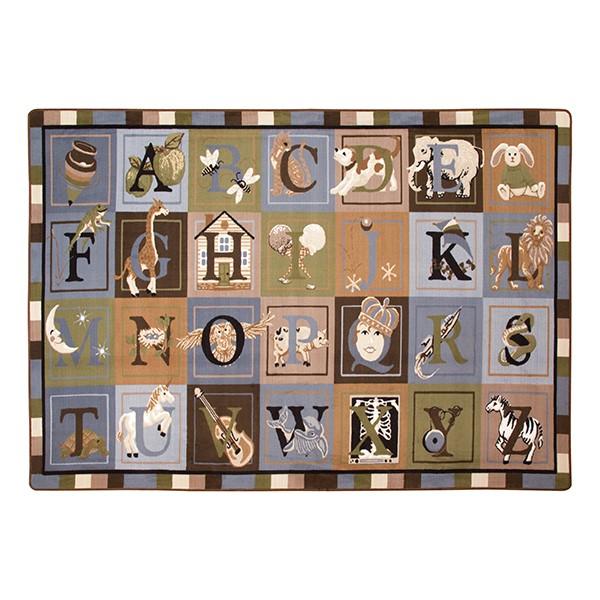 Natural Reading Center - Alphabet Images Natural Colors Rug