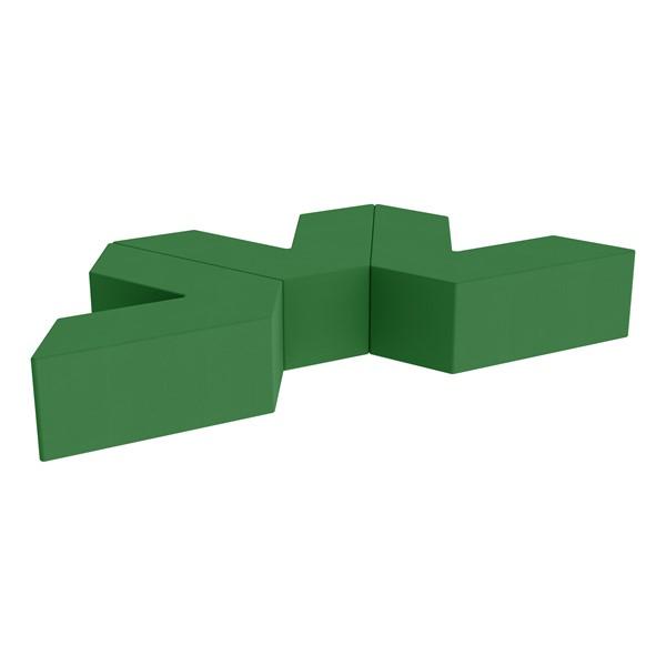 "Foam Soft Seating Set - Three Pack V-Shape - 12"" Seat Height (Set of Three V-Shape) - Green"