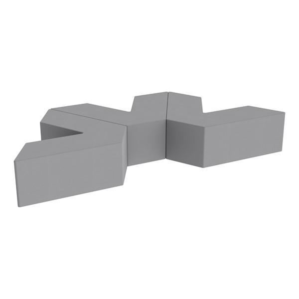 "Foam Soft Seating Set - Three Pack V-Shape - 12"" Seat Height (Set of Three V-Shape) - Gray"