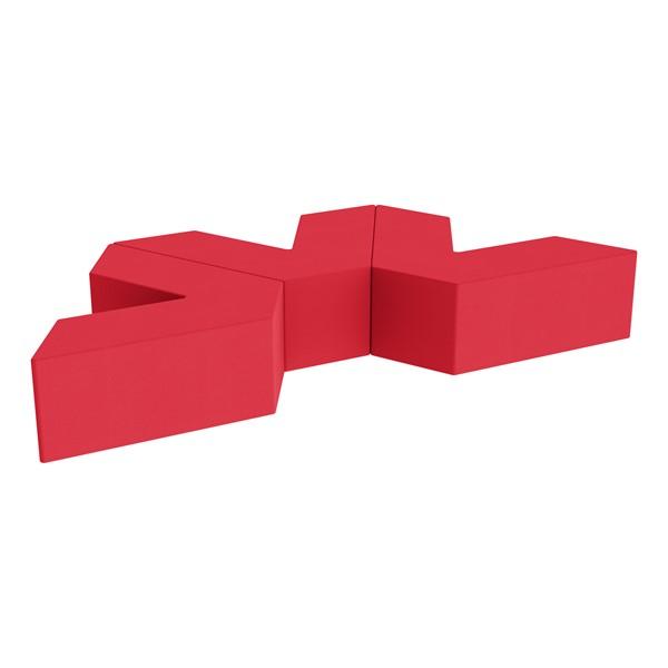 "Foam Soft Seating Set - Three Pack V-Shape - 12"" Seat Height (Set of Three V-Shape) - Red"
