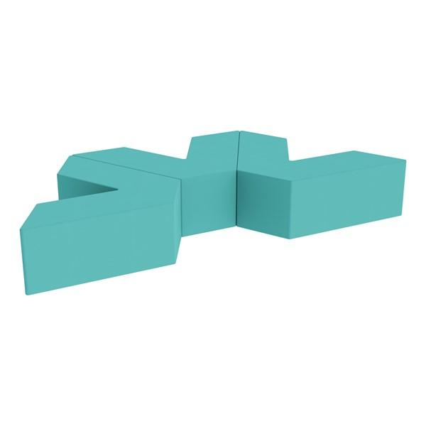 "Foam Soft Seating Set - Three Pack V-Shape - 12"" Seat Height (Set of Three V-Shape) - Turquoise"