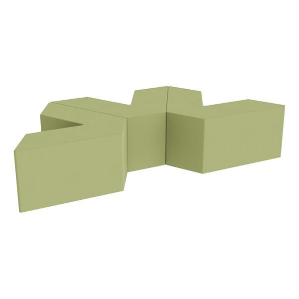 "Foam Soft Seating Set - Three Pack V-Shape - 16"" H Seat Height (Set of Three V-Shape) - Fern Green"