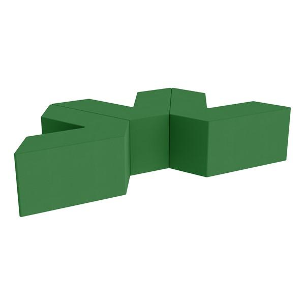 "Foam Soft Seating Set - Three Pack V-Shape - 16"" H Seat Height (Set of Three V-Shape) - Green"
