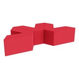 "Foam Soft Seating Set - Three Pack V-Shape - 16"" H Seat Height (Set of Three V-Shape) - Red"