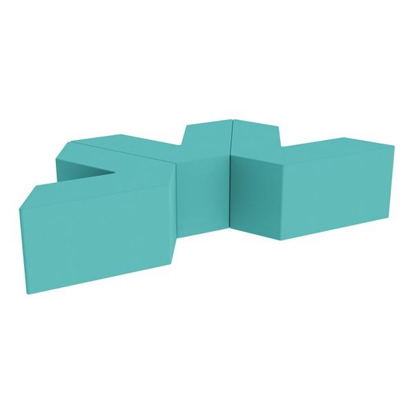 "Foam Soft Seating Set - Three Pack V-Shape - 16"" H Seat Height (Set of Three V-Shape) - Turquoise"