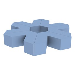 "Foam Soft Seating Set - Single Height Asterisk Shape (12"" H) - Powder Blue"