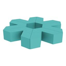 "Foam Soft Seating Set - Single Height Asterisk Shape (12"" H) - Turquoise"