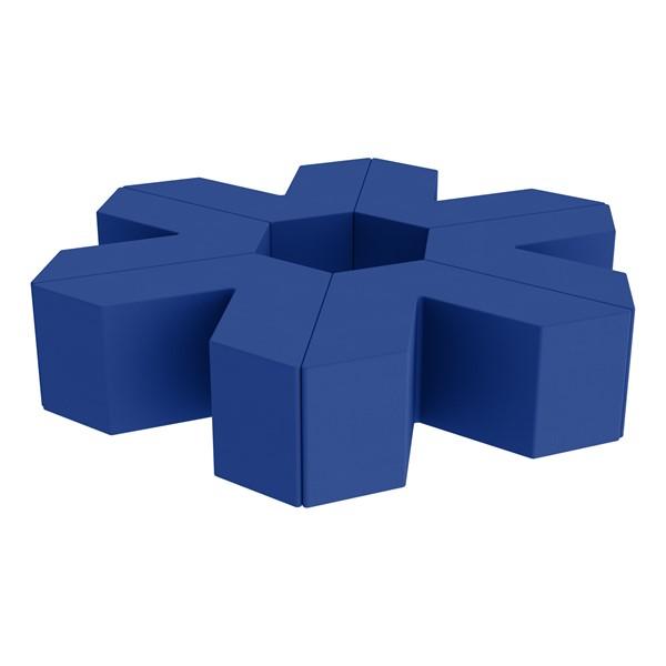 """Foam Soft Seating Set - Single Height Asterisk Shape - 16"""" H (Set of Six V-Shape) - Blue"""