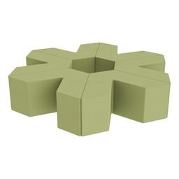"Foam Soft Seating Set - Single Height Asterisk Shape - 16"" H (Set of Six V-Shape) - Fern Green"