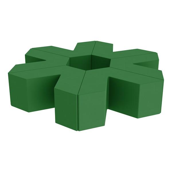 "Foam Soft Seating Set - Single Height Asterisk Shape - 16"" H (Set of Six V-Shape) - Green"
