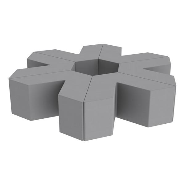 "Foam Soft Seating Set - Single Height Asterisk Shape - 16"" H (Set of Six V-Shape) - Gray"
