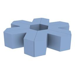 "Foam Soft Seating Set - Single Height Asterisk Shape - 16"" H (Set of Six V-Shape) - Powder Blue"