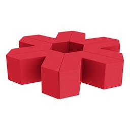 """Foam Soft Seating Set - Single Height Asterisk Shape (16"""" H) - Red"""