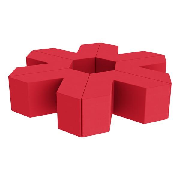 "Foam Soft Seating Set - Single Height Asterisk Shape - 16"" H (Set of Six V-Shape) - Red"