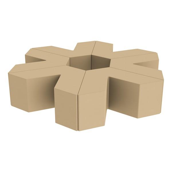 """Foam Soft Seating Set - Single Height Asterisk Shape - 16"""" H (Set of Six V-Shape) - Sand"""