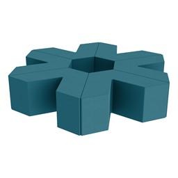 "Foam Soft Seating Set - Single Height Asterisk Shape - 16"" H (Set of Six V-Shape) - Teal"
