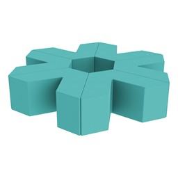 "Foam Soft Seating Set - Single Height Asterisk Shape - 16"" H (Set of Six V-Shape) - Turquoise"
