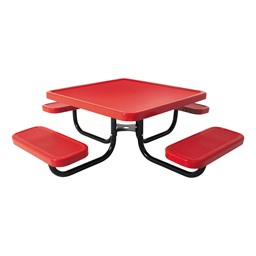 Square Portable Preschool Outdoor Picnic Table w/ Solid Writeable Surface