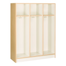 "60"" H Three-Wide Single-Tier Lockers without Doors (One Shelf)<br>Shown w/ maple finish"