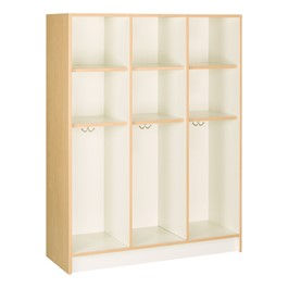 "60"" H Three-Wide Single-Tier Lockers without Doors (Two Shelves)<br>Shown w/ maple finish"