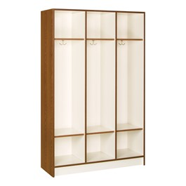 "72"" H Three-Wide Single-Tier Lockers without Doors - Shown in Medium Oak"