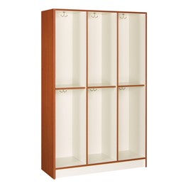 "72"" H Three-Wide Double-Tier Lockers without Doors - Shown in cherry"