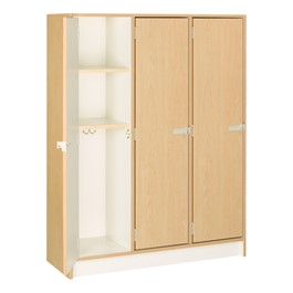"60"" H Three-Wide Single-Tier Lockers (Two Shelves)<br>Shown w/ maple finish"