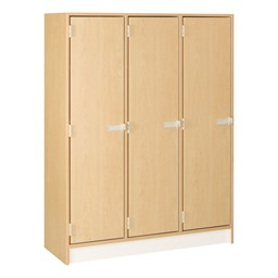 "60"" H Three-Wide Single-Tier Lockers<br>Shown in maple finish w/ doors closed"
