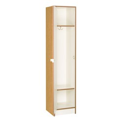 "72"" H One-Wide Single-Tier Locker - Shown in Light Oak w/ door open"