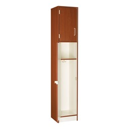 "84"" H One-Wide Double-Tier Lockers - Shown in Cherry w/ door open"