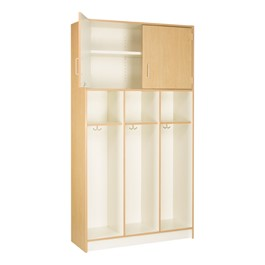"84"" H Three-Wide Double-Tier Lockers without Doors - Shown in Maple"